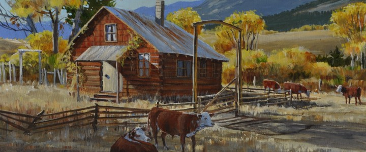 Herefords At The Homestead: Hat Creek - Acrylics & Oils - Original Artwork - Acrylics, Oils & Watercolours