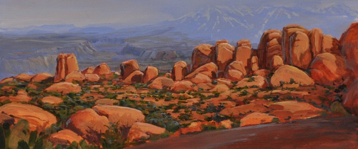 La Sal Mountains, Arches National Park: Utah - Acrylics & Oils - Original Artwork - Acrylics, Oils & Watercolours