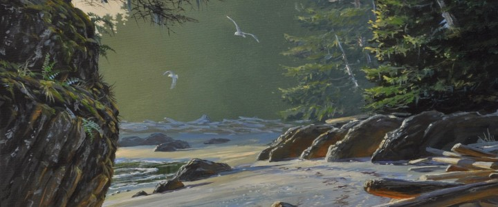 April Afternoon: Ucluth Beach - Acrylics & Oils - Original Artwork - Acrylics, Oils & Watercolours
