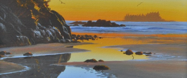Tonquin Island Sunset From Middle Beach - Acrylics & Oils - Original Artwork - Acrylics, Oils & Watercolours