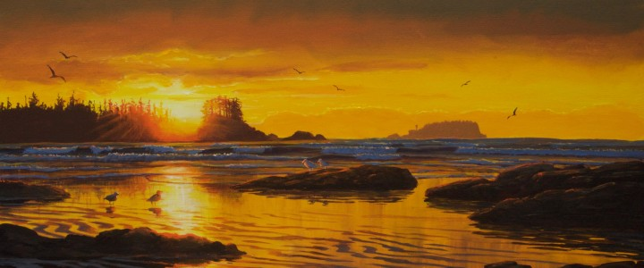 Sunset From North Chesterman Beach - Acrylics & Oils - Original Artwork - Acrylics, Oils & Watercolours