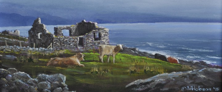 Cattle Resting Among Stone Ruins: Falmore, Donegal, Ireland - Acrylics & Oils - Original Artwork - Acrylics, Oils & Watercolours