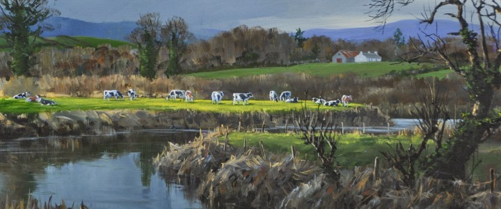 Dairy Cattle Along The Slaney River: County Wexford, Ireland - Acrylics & Oils - Original Artwork - Acrylics, Oils & Watercolours
