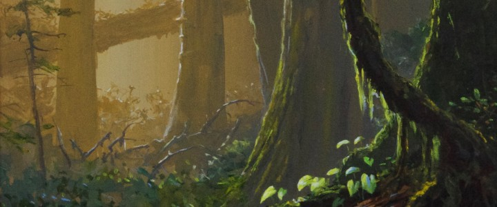 Morning Light In The Forest - Acrylics & Oils - Original Artwork - Acrylics, Oils & Watercolours