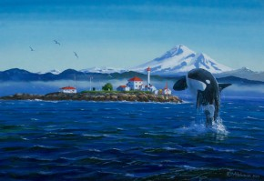 Mt. Baker And Leaping Orca