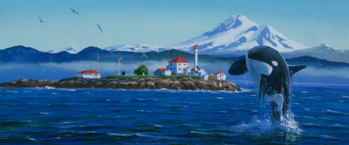 Mt. Baker And Leaping Orca - Acrylics & Oils - Original Artwork - Acrylics, Oils & Watercolours