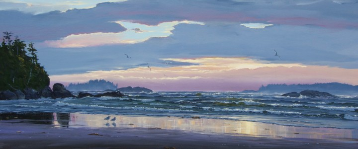 Mackenzie Beach: Pink Sunset - Acrylics & Oils - Original Artwork - Acrylics, Oils & Watercolours