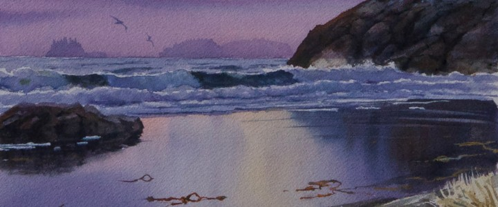 Pink Skies Above Middle Beach - Watercolours - Original Artwork - Acrylics, Oils & Watercolours