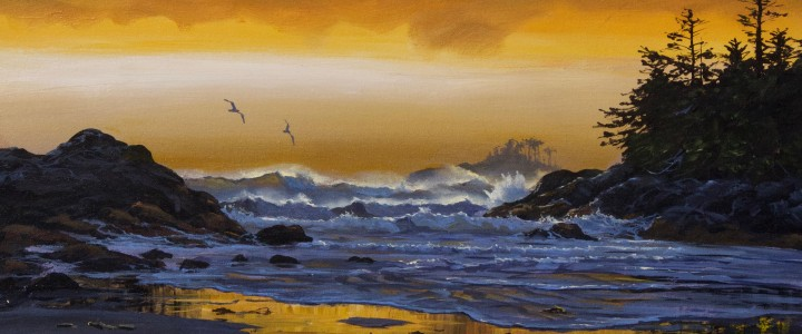 Crystal Cove: Winter Skies - Acrylics & Oils - Original Artwork - Acrylics, Oils & Watercolours