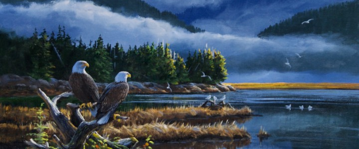 Bald Eagles: Watching For Salmon - Acrylics & Oils - Original Artwork - Acrylics, Oils & Watercolours