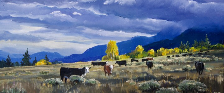 Hat Creek Valley: Cattle Under Storm Cloud - Acrylics & Oils - Original Artwork - Acrylics, Oils & Watercolours