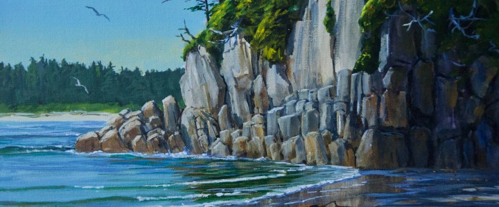 Calvert Island: The Granite Wall, Third Beach - Acrylics & Oils - Original Artwork - Acrylics, Oils & Watercolours