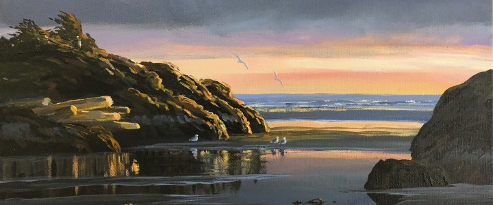 Green Point: Easter Sunset - Acrylics & Oils - Original Artwork - Acrylics, Oils & Watercolours