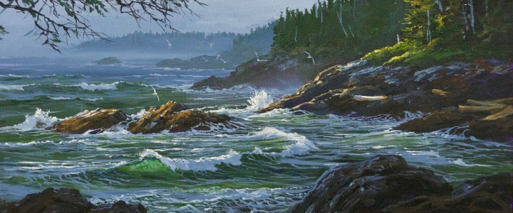 Ucluelet: Around The Corner From Black Rock  - Acrylics & Oils - Original Artwork - Acrylics, Oils & Watercolours