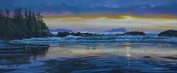Mackenzie Beach: Winter Sunset - Acrylics & Oils - Original Artwork - Acrylics, Oils & Watercolours