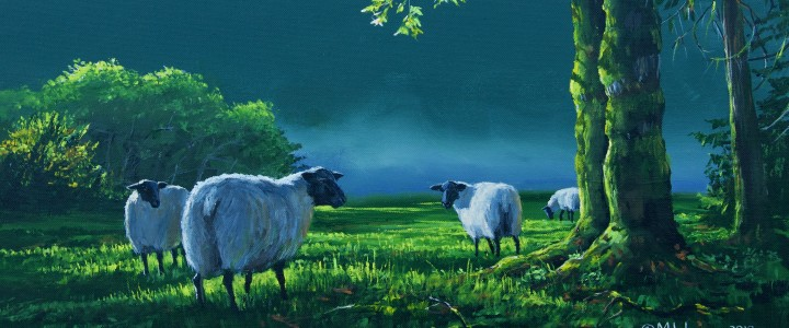 Suffolk Sheep: Under The Maple Tree - Acrylics & Oils - Original Artwork - Acrylics, Oils & Watercolours