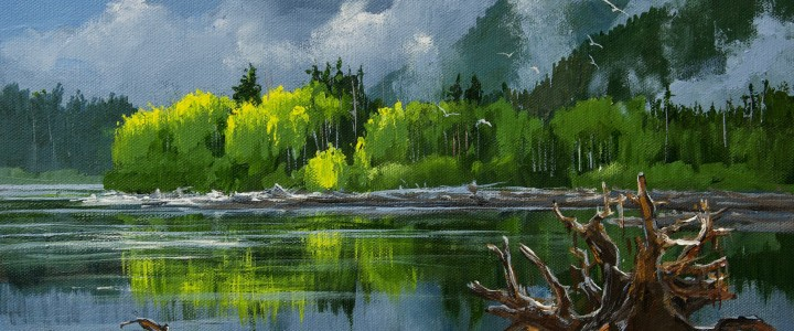 Rising Mist Along The Skeena River - Acrylics & Oils - Original Artwork - Acrylics, Oils & Watercolours