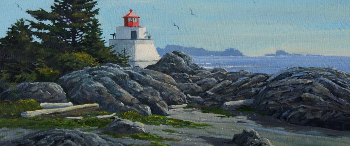 Ucluelet: Amphitrite Light In Summer - Acrylics & Oils - Original Artwork - Acrylics, Oils & Watercolours
