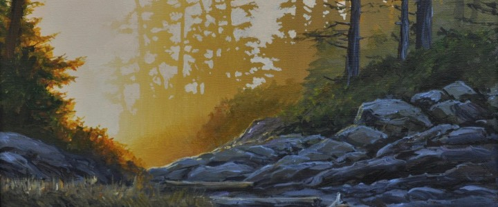 Cox Bay: Evening Mist At Pacific Sands - All Originals Available - Original Artwork - Acrylics, Oils & Watercolours