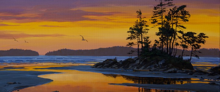Tonquin Beach: March Twilight - Acrylics & Oils - Original Artwork - Acrylics, Oils & Watercolours