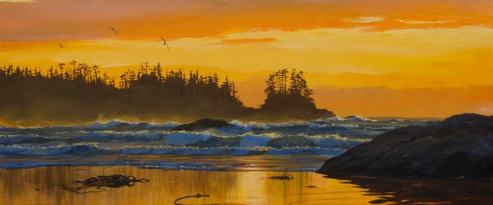 Frank Island: Below Orange Skies - Acrylics & Oils - Original Artwork - Acrylics, Oils & Watercolours