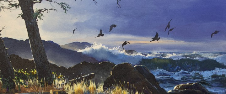 Crows: Playing In The Wind - Acrylics & Oils - Original Artwork - Acrylics, Oils & Watercolours