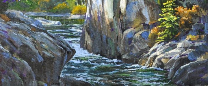 Adams River Canyon - Acrylics & Oils - Original Artwork - Acrylics, Oils & Watercolours