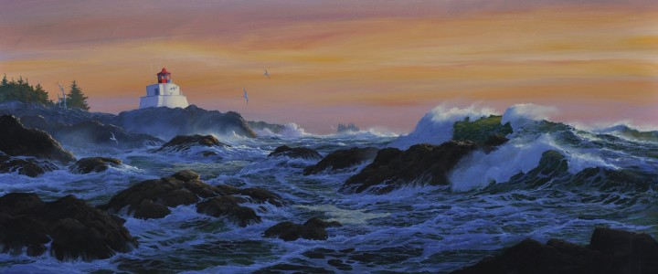 Amphitrite Lighthouse: January Sunset - Acrylics & Oils - Original Artwork - Acrylics, Oils & Watercolours