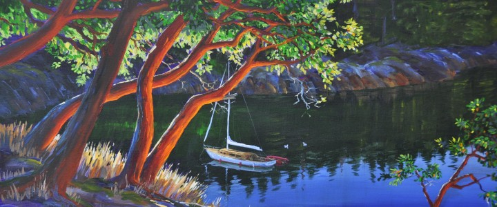 arbutus cove,acrylics & oils, arbutus, cove, boat, water, original acrylic painting, artwork, 2007, tofino, ucluelet, west coast, vancouver island, british columbia, b.c.,