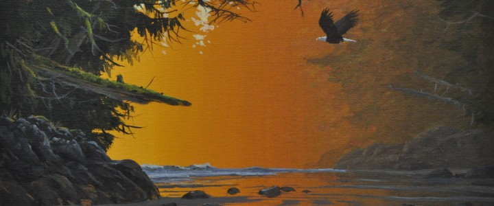 Bald Eagle: Flying into the Dawn - Acrylics & Oils - Original Artwork - Acrylics, Oils & Watercolours