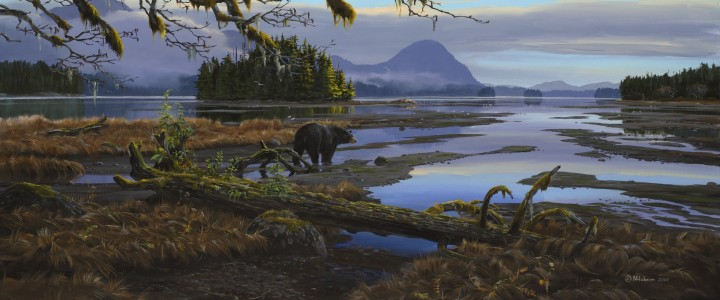 Black Bear: Crossing the Mudflat - Giclees - Artwork Reproductions - Giclees, Paper Prints, Prints and Gift Store