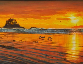 Chesterman Beach: Five Gulls at Sunset