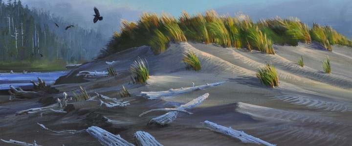 Combers Beach: Sand Dunes and Ravens - Acrylics & Oils - Original Artwork - Acrylics, Oils & Watercolours