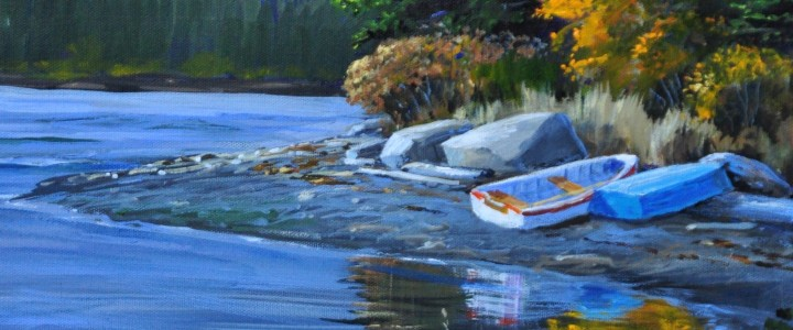 Dinghies at Dodds Narrows - Acrylics & Oils - Original Artwork - Acrylics, Oils & Watercolours