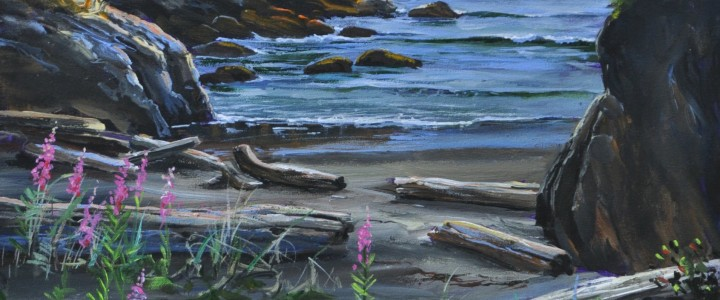 Fireweed on North Vargas Island - Acrylics & Oils - Original Artwork - Acrylics, Oils & Watercolours
