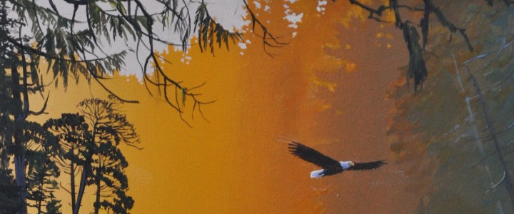 Bald Eagle: Flight Through the Narrows - Acrylics & Oils - Original Artwork - Acrylics, Oils & Watercolours