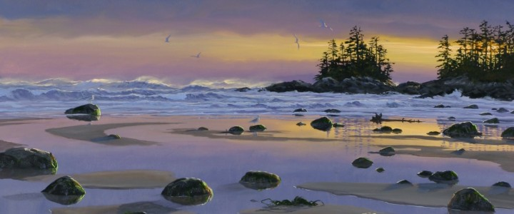 Florencia Bay At Sunset - Art Cards & Blockmounts - Artwork Reproductions - Giclees, Paper Prints, Prints and Gift Store