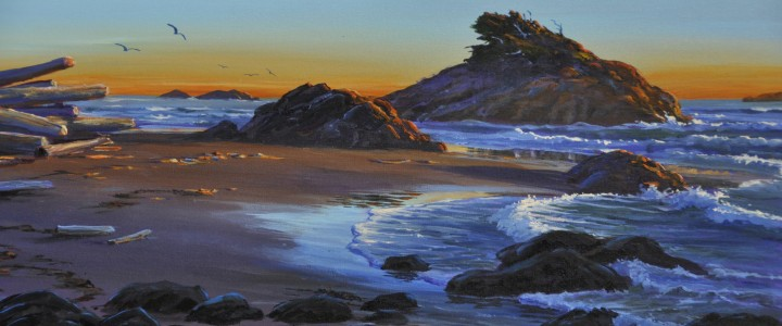 Flower Rock at Sunset  - Acrylics & Oils - Original Artwork - Acrylics, Oils & Watercolours