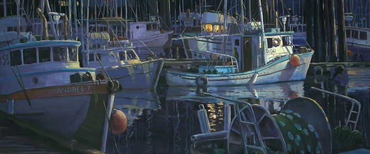 Fourth Street Dock at Night - Acrylics & Oils - Original Artwork - Acrylics, Oils & Watercolours