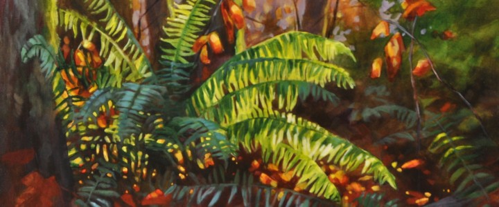 Backlit Fern - Other Artists - Original Artwork - Acrylics, Oils & Watercolours