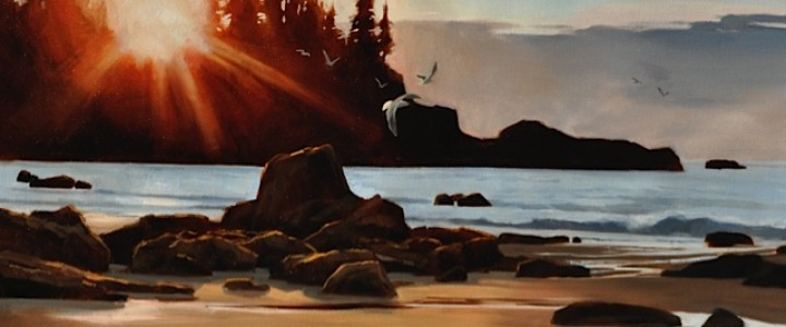 Last Light at Brady's Beach - Other Artists - Original Artwork - Acrylics, Oils & Watercolours