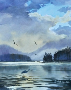 Great Blue Heron: Fishing Between Squall