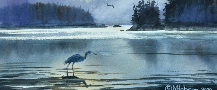 Great Blue Heron: Fishing Between Squall - All Originals Available - Original Artwork - Acrylics, Oils & Watercolours
