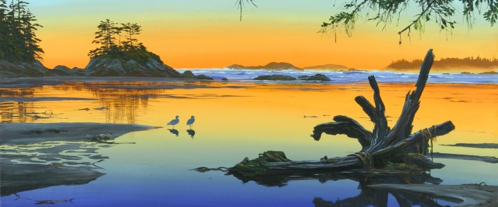 journey's end,giclees, sunset, ocean, gulls, driftwood, giclee, artwork, 2005, tofino, ucluelet, west coast, vancouver island, british columbia, b.c.,