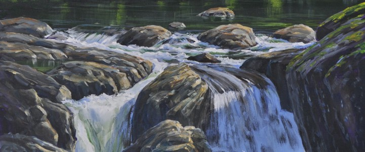 Kennedy River: Hidden Falls - Acrylics & Oils - Original Artwork - Acrylics, Oils & Watercolours