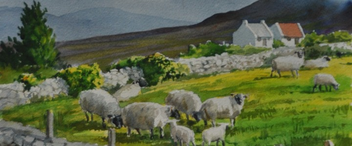 Below Benbulben: Sligo, Ireland - Watercolours - Original Artwork - Acrylics, Oils & Watercolours