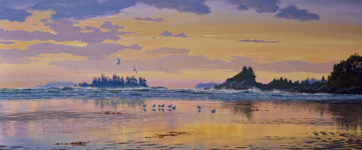 Cox Bay: Under Pink Skies - Acrylics & Oils - Original Artwork - Acrylics, Oils & Watercolours