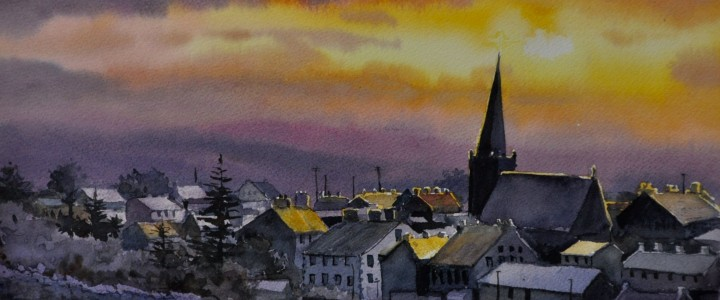 Sunset Over Letter Kenny: Donegal, Ireland - Watercolours - Original Artwork - Acrylics, Oils & Watercolours