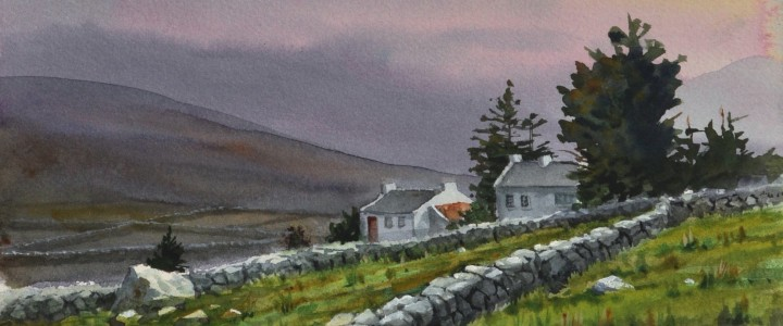 Pink Skies Over County Mayo - Watercolours - Original Artwork - Acrylics, Oils & Watercolours