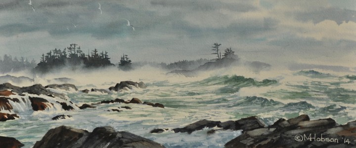 Stormy Seas: View from Black Rock - Watercolours - Original Artwork - Acrylics, Oils & Watercolours
